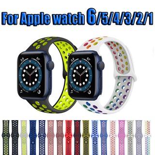 Dây đeo silicon thiết kế thoáng khí thay thế cho đồng hồ thông minh Apple Watch 6 / Se 38mm / 40mm 42mm / 44mm
