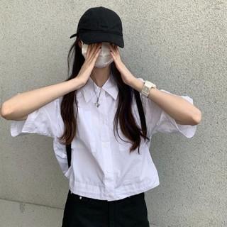 Áo Sơ Mi Tay Ngắn Dáng Rộng Màu Trơn Phối Dây Rút Phong Cách Hàn Quốc Thời Trang Mùa Hè Mới Cho Nữ 2021 7 Ngày