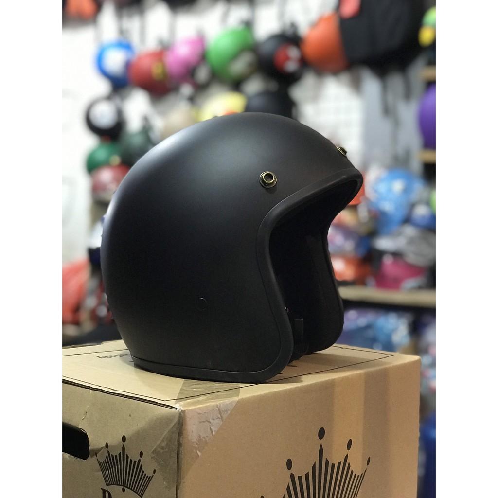 [  ẢNH THẬT ] Mũ Bảo Hiểm 3/4 Đen Trơn Có Kính UV- Mũ Nhựa ABS Chống Va Đập Tốt - BH 6 Tháng