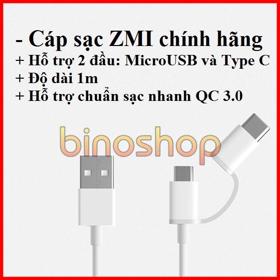 Cáp sạc nhanh 2 đầu type c, micro usb Xiaomi - ZMI