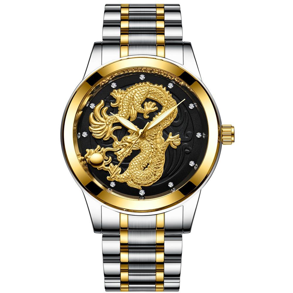 Đồng hồ thời trang nam dây hợp kim cao cấp mặt rồng FNGEEN PKHRFNG002 - Ngọa hổ tàng long