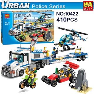 Bộ lego ghép hình Urban 10422 – Xe Lưu Động Cảnh Sát Chở Trực Thăng Giám Sát