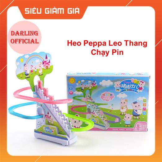 Heo Peppa Leo Thang Cầu Trượt Có Nhạc Đèn, Piggy Peppa Leo Thang chạy pin Darling Store