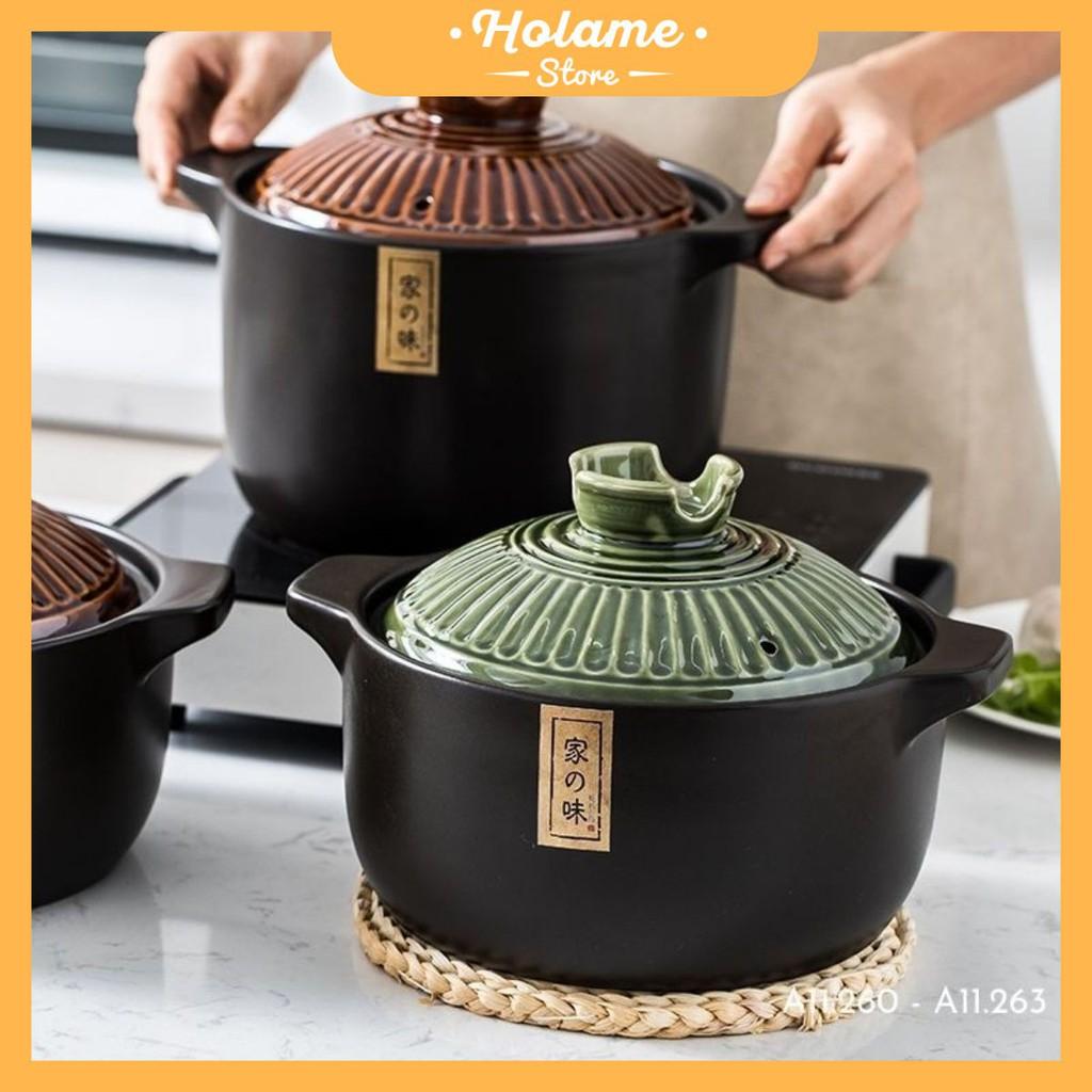 Nồi sứ, nồi kho cá, hầm cháo ninh xương gốm sứ cao cấp chịu nhiệt tốt dùng được bếp ga - nắp xanh rêu và rêu