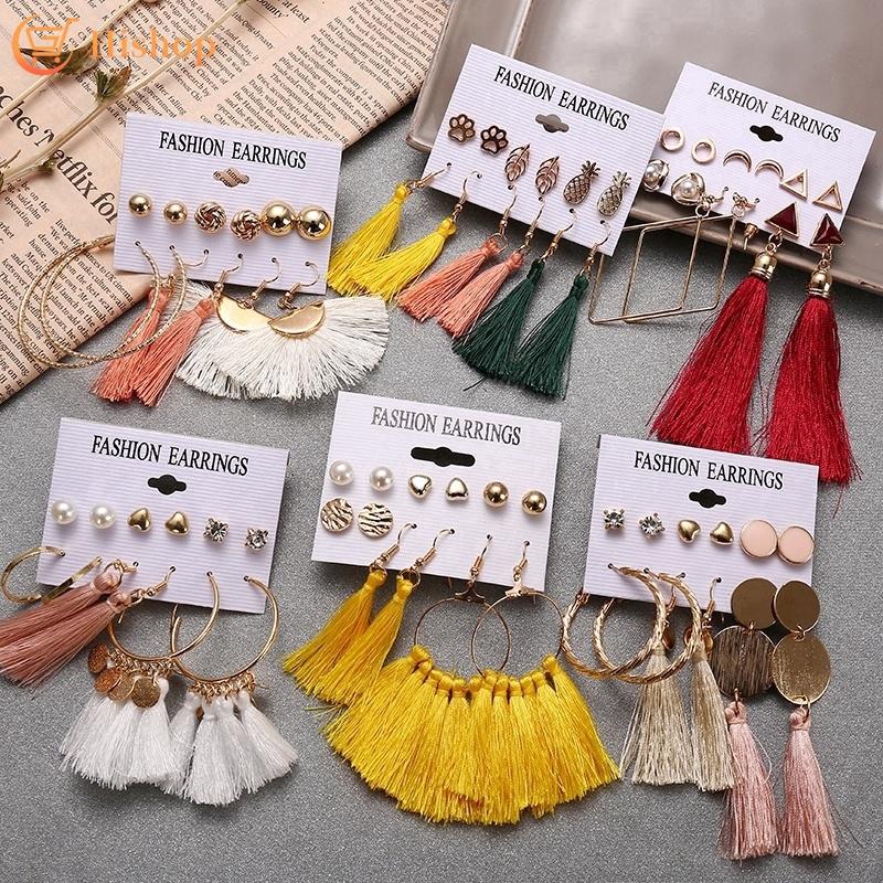 Set bông tai vàng kiểu tua rua nhiều màu sắc