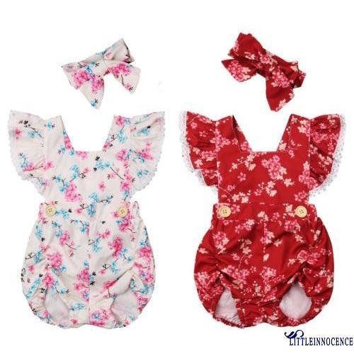 Bộ đồ liền thân và băng đô vải họa tiết hoa cho bé