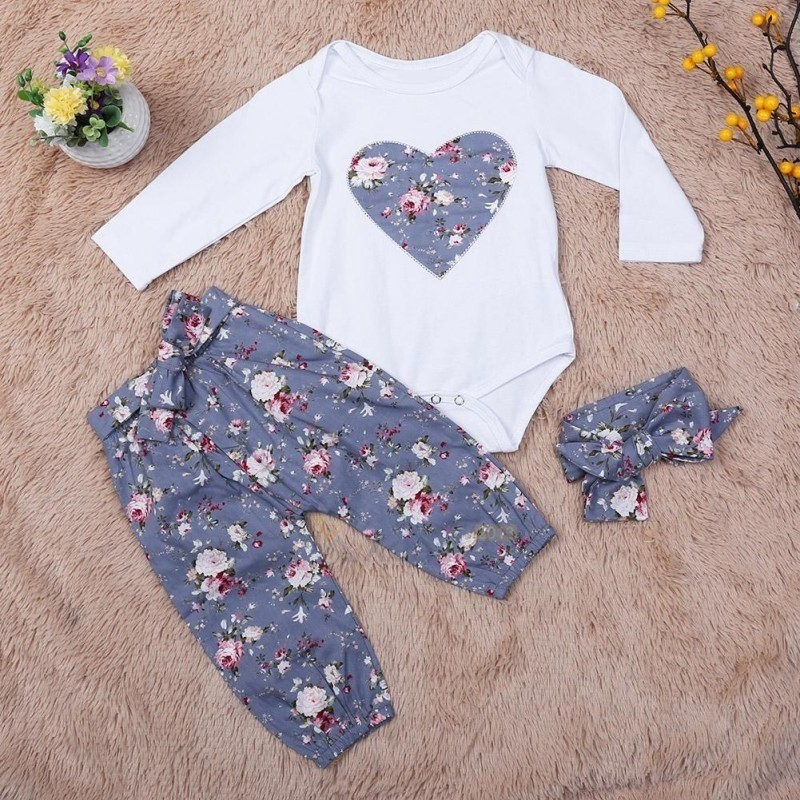 Bộ áo liền quần và quần dài đính nơ hoạ tiết hoa xinh xắn cho bé
