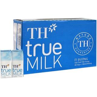 """Thùng sữa tươi tiệt trùng TH True Milk Ít Đường hộp 180ml (48 hộp) """"Giá bán đã trừ khuyến mãi"""""""