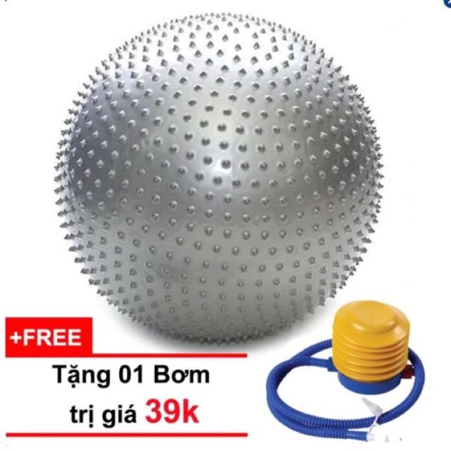 Bóng tập Yoga 65cm gai (màu bạc) TẶNG KÈM BƠM trị giá 39k [FREE SHIP toàn quốc đơn 180k]