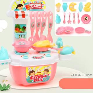 Bộ đồ chơi nấu ăn 20 món kèm bàn bếp và tủ bếp bằng nhựa nguyên sinh ABS an toàn cho bé yêu BBShine – DC015