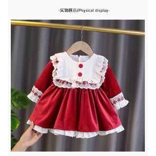 Váy đỏ Nhung pha ren ngọt ngào phong cách công chúa vintage xin xò cho bé , váy nhung lót lông cực ấm bé gái