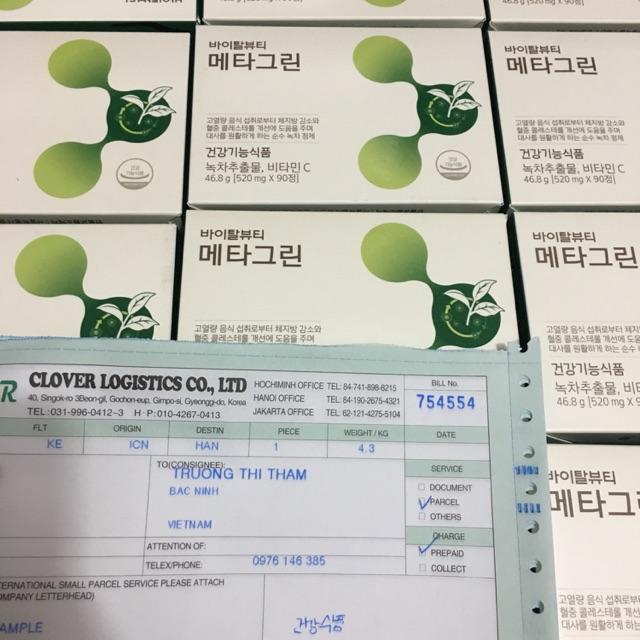 Viên giảm cân Metagreen trà xanh Hàn Quốc