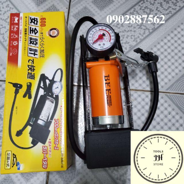 Bơm hơi đạp chân POMPA tiêu chuẩn usa 1 ống hơi