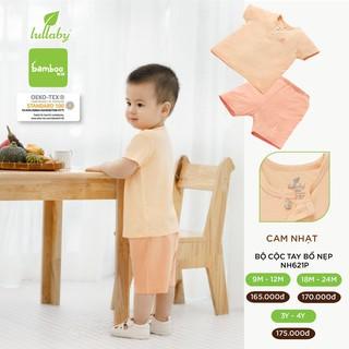 Đồ bộ cộc tay bổ nẹp Lullaby cho bé trai NH621P Cam [Thời Trang trẻ em cao cấp – chính hãng Lullaby Store]