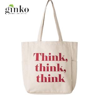 Túi Vải Tote Ginko Unisex Phong Cách Hàn Quốc In Hình Think, Think, Think K02