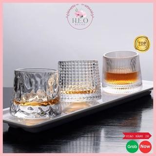 Ly thủy tinh, cốc thủy tinh cao cấp đế lồi Heodecor C03, ly rượu ngoại họa tiết hiện đại