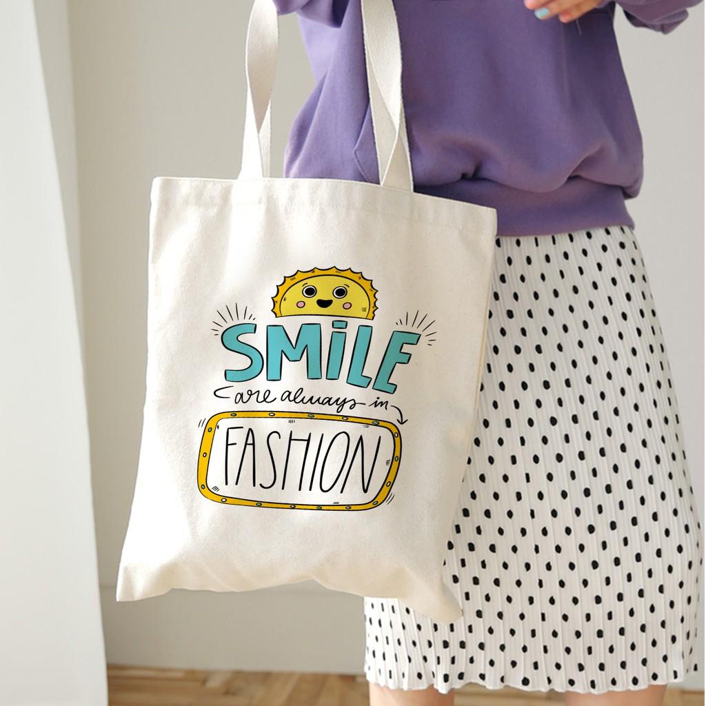 Túi Tote Canvas In Chữ Smile Đơn Giản