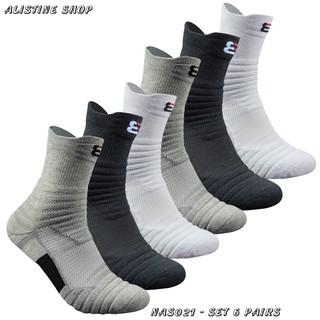[Hàng có sẵn giao nhanh và có BIG SIZE] Combo 6 đôi vớ đá banh chạy bộ bóng rổ tenis cầu lông Vớ thể thao nam NAS021 thumbnail