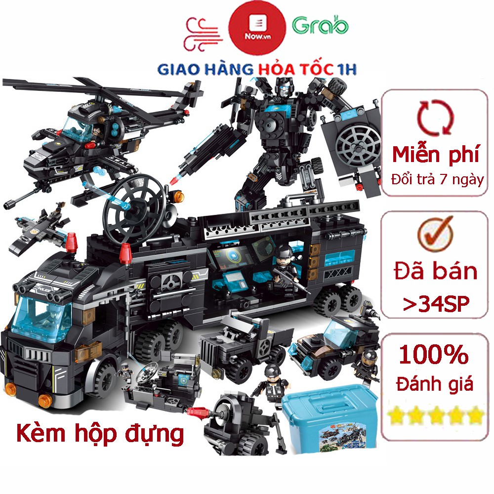 Bộ đồ chơi xếp hình Lego cảnh sát với hơn 820 chi tiết với robot, máy bay,  xe cảnh sát... kèm hộp đựng tại Hà Nội