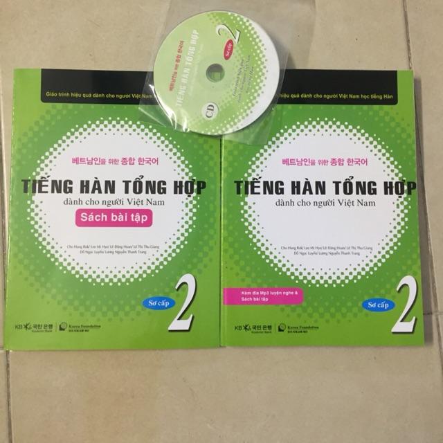 Sách - tiếng Hàn tổng hợp dành cho người Việt Nam Tập 2 trình độ sơ cấp kèm sách + bài tập + CD -978895995795