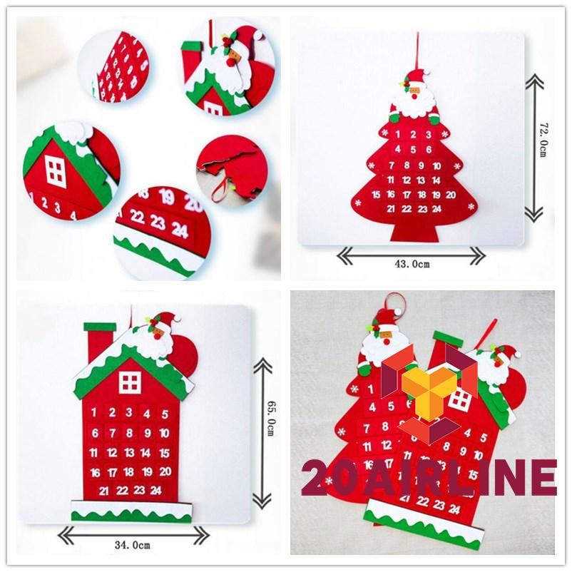OKDK-Large Christmas Advent Calendar Santa Claus House Christmas Tree Xmas Decor New Hot