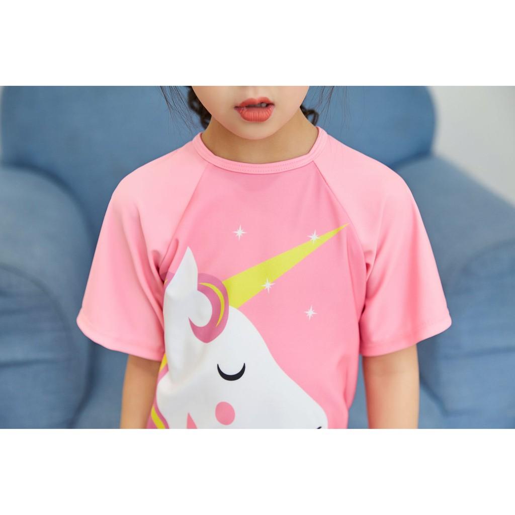 Đồ bơi bé gái unicorn hồng liền đáng yêu
