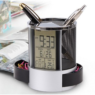 Hộp đựng bút - Hộp đựng bút có đồng hồ có đo nhiệt độ để bàn - Đồng hồ báo thức kỹ thuật số - Hộp bút để bàn