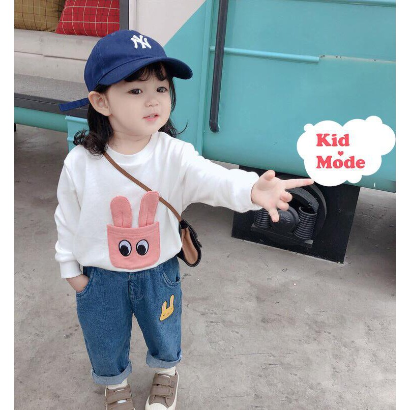 Mẫu áo nỉ cho bé trai, bé gái họa tiết tai thỏ đáng yêu, chất da cá mềm mịn, áo diện tết tặng bé - KIDMODE