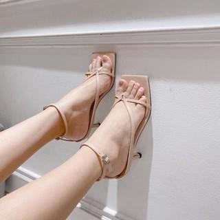 Giày cao gót thời trang mũi vuông kiểu xỏ ngón,guốc nữ thời trang gót nhọn cao 7p fom chuẩn size 35-40 màu nude