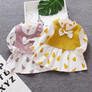 Đầm tay dài đính nơ họa tiết đáng yêu dành cho bé