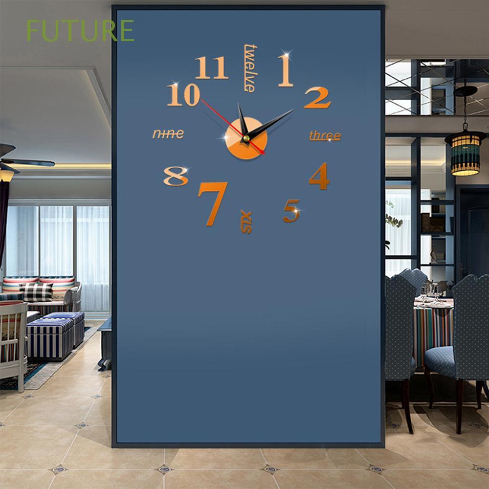 Đồng hồ dán tường 3D tráng gương sang trọng DIY
