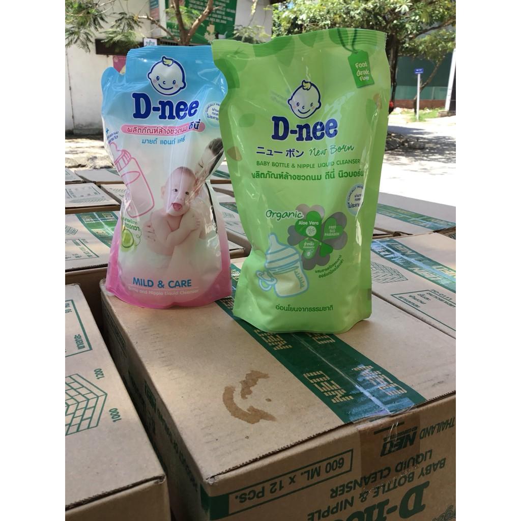 Bộ 7 túi nước rửa bình sữa và rau củ D-nee 600ml (date 2020)