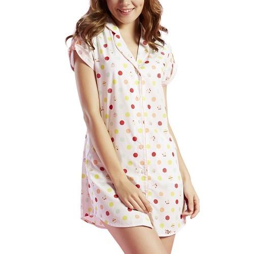 Đầm ngủ VERA 6116 (In bi Hồng)