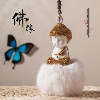 Tượng Phật Ngồi Thiền Full Đá Pha Lê, Để Treo Gương Chiếu Hậu Xe Hơi [Hàng Loại Cao Cấp]