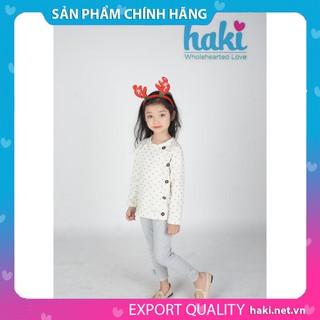 Áo chấm bi cào bông - ghi HK022, áo bé trai bé gái, áo dài tay cho bé, áo thu - đông cho bé