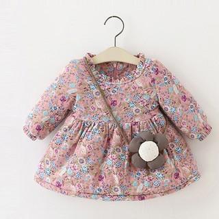 Áo liền Váy hoa chất siêu mềm lót nỉ cho bé gái