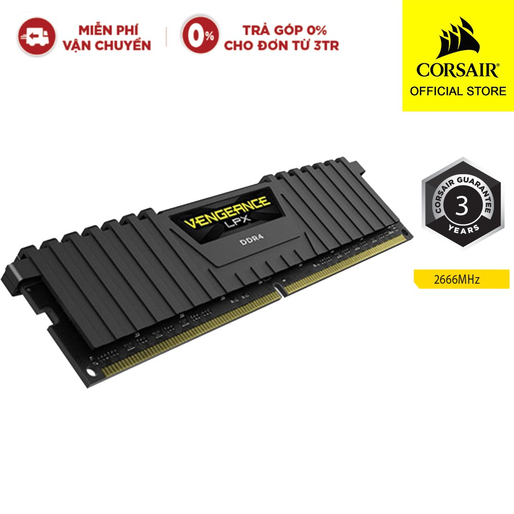 Bộ Nhớ Trong RAM CORSAIR VENGEANCE LPX CMK8GX4M1A2666C16 8GB DDR4 Buss 2666 MHz