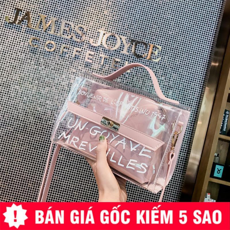 Túi Trong Suốt Pha Lê Phối Chữ Kèm Túi Da Siêu Hot Quảng Châu