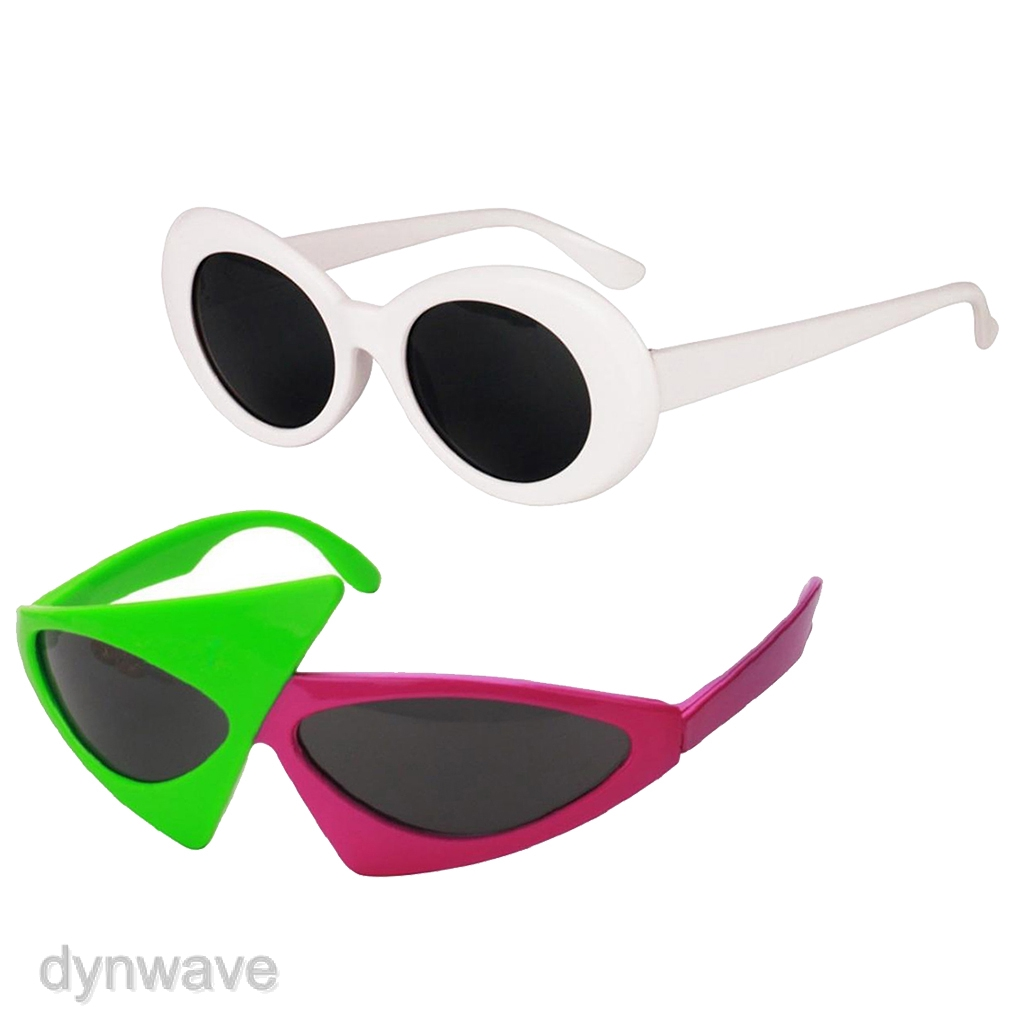 Pack of 2 Novelty Sunglasses - 80s White Clout Goggles Sunglasses  & Green Pink Triangle Glasses - Party Eyewear