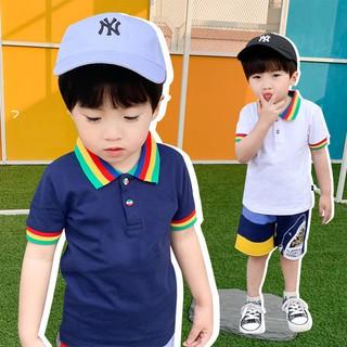 Áo polo bé trai chất cotton cao cấp size từ 1 đến 8 tuổi họa tiết cầu vồng