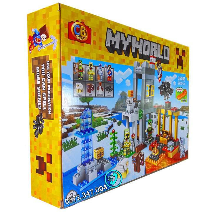 Bộ Lego Xếp hình Minecraft My World. Gồm Có 282 Chi Tiết. Lego My World Minecraft Lắp Ráp Cho Bé.
