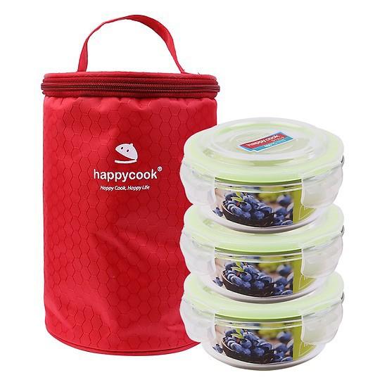 Bộ 3 Hộp Thủy Tinh Happy Cook Tròn 400ml/Hộp Kèm Túi Giữ Nhiệt Glass HCG-03C
