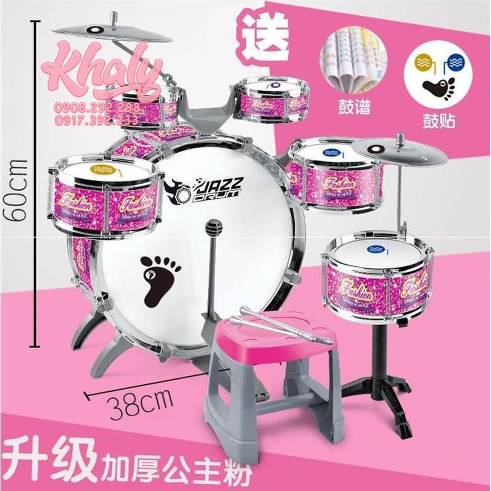 Set bộ 6 trống Jazz Drum 11 món màu hồng cho bé gái - 560667 ( 39x18x39cm)