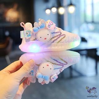Giày thể thao cho bé gái có đèn led chống trượt – họa tiết thỏ xinh xắn
