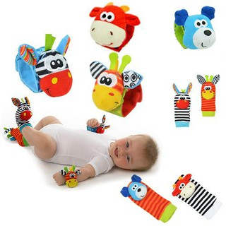 Baby Hand Strap Wrist Bell Foot Sock Rattles Animal Rattles Soft Toy
