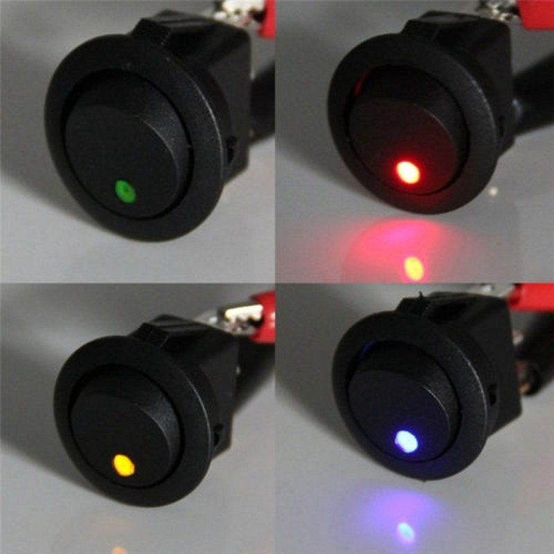 4* Waterproof ON/OFF Car 12V Round Rocker Dot Boat LED Light Toggle Switch