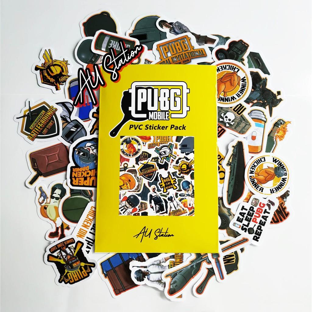50 Sticker PUGB nhựa PVC không thấm nước, dán nón bảo hiểm, laptop, điện thoại, Vali, xe