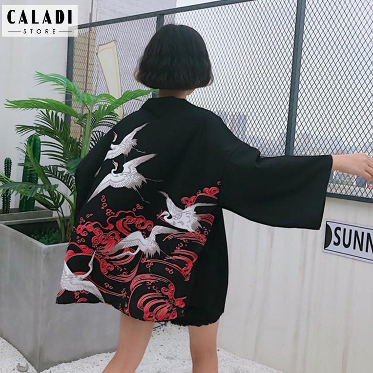 Áo khoác cardigan Kimono Haori đi biển hoạ tiết hạc đỏ