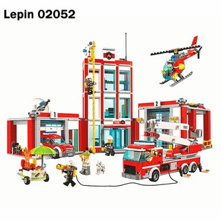 Lego City 60110 The Fire Station Set 1029Pcs Lepin 02052 Trạm Cứu Hỏa Cỡ Lớn lego xe
