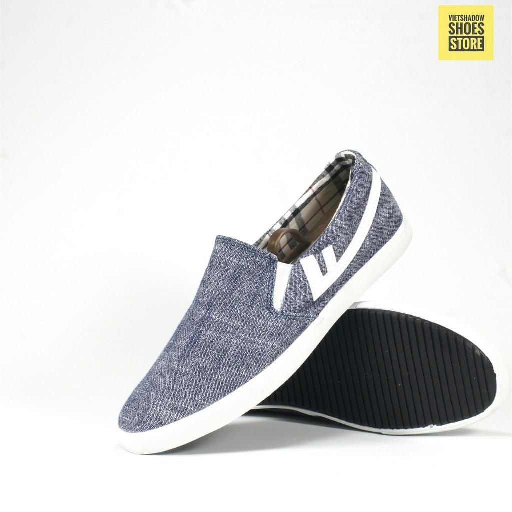 Slip On nam | giày lười vải nam thương hiệu LEYO - Mã 6512-xanh